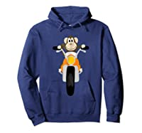 Southerndesigntees Cool Monkey Riding Motorcycle T-shirt Hoodie Navy