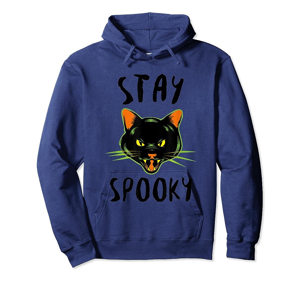 Stay Spooky | Scary Halloween Black Cat T-Shirt-Hoodie-Navy