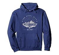 Pittsburgh Skyline T Shirt Steel City Souvenir Gift Hoodie Navy
