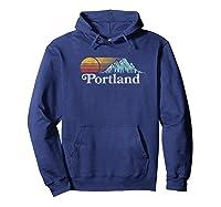Portland, Oregon Vintage Mountain Sunset 80s Retro Shirts Hoodie Navy