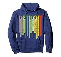 Retro Detroit Vintage Detroit Skyline Shirts Hoodie Navy