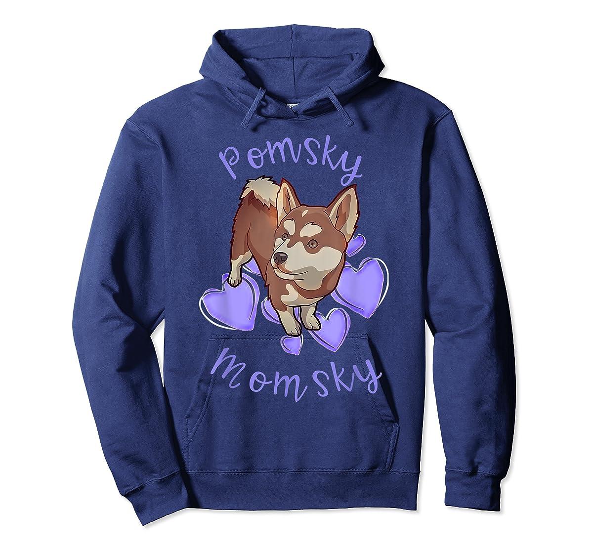 Cute Pomsky Momsky TShirt - Pomsky Mom Purple Hearts Shirt-Hoodie-Navy
