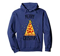 Merry Crustmas Pizza Pizza Lover Christmas Tree Shirts Hoodie Navy