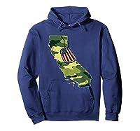 California Camouflage Veteran Pride T-shirt Hoodie Navy
