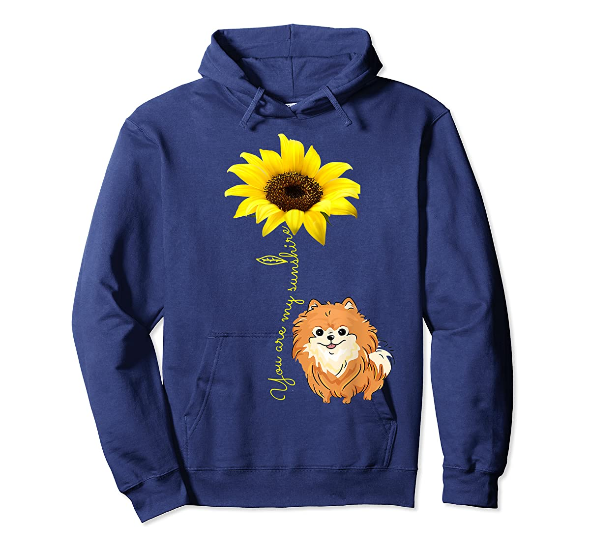 You Are My Sunshine Sunflower Pomeranian Pom Lover Shirt-Hoodie-Navy