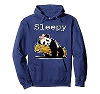 Sleepy Panda Shirt For Girls Cute Panda Flowers Lazy Relaxed Hoodie Navy