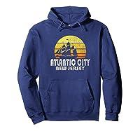 Retro Atlantic City Nj Beach Vacation T Shirt Hoodie Navy