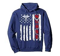 Patriotic American Usa Flag Correctional & Rn Nurse Tshirt Hoodie Navy