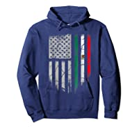 American Raised Mexican Roots Mexican Flag Gift Shirts Hoodie Navy