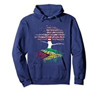 American Heart Guyanese Roots Patriot Usa Guyana Flag Shirts Hoodie Navy