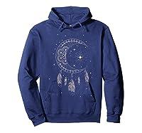 Dream Cat Moon & Stars Boho Graphic T-shirt Hoodie Navy