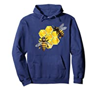 Honeycomb Pattern With Two Bees Drawing Shirts Hoodie Navy