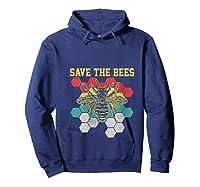 Save The Bees Vintage Retro Beekeeping Beekeeper Gift Shirts Hoodie Navy