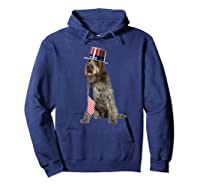 Wirehaired Pointing Griffon 4th Of July Dog In Top Hat Shirts Hoodie Navy