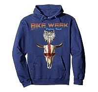 Bike Week Bull Head Skull Motorcycle T Shirt Hoodie Navy