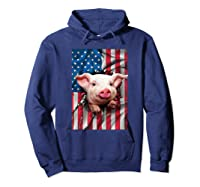 Pig American Flag Gift Funny 4th Of July America Shirts Hoodie Navy