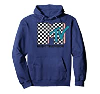 Mtv Checkered Logo Pink Shadow Turquoise Tv Graphic T-shirt Hoodie Navy