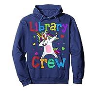 Library Crew Dabbing Unicorn 1st Day Of School Shirts Hoodie Navy