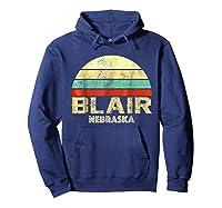 Blair Ne Nebraska Vintage Retro Sunset Tee T Shirt Hoodie Navy