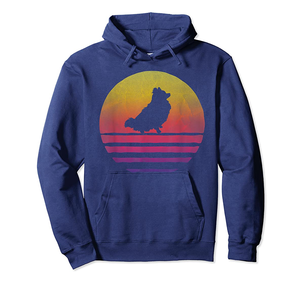 Retro Vintage Sunset Pomeranian Dog Lover Silhouette Gift T-Shirt-Hoodie-Navy