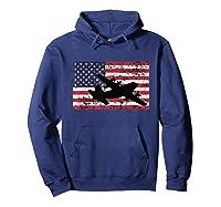 Patriotic C-130 Hercules Airplane American Flag T-shirt Hoodie Navy