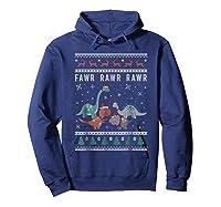 Dino Ugly Christmas Sweater Xmas Dinosaur Shirts Hoodie Navy