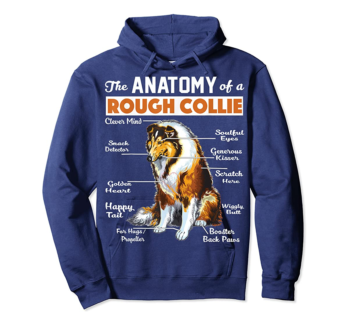 The Anatomy Of A Rough Collie-Hoodie-Navy