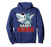 Dabbing Daddy Shark Fathers Day Gift Matching Shirts Hoodie Navy