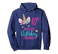 Unicorn 10th Magical Birthday Sleepover Party Girl Shirts Hoodie Navy