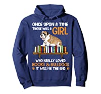 There Was A Girl Loved Book And Bulldogs Tshirt Gifts Hoodie Navy