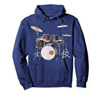 Awesome Drum Set Rock Music Band Shirts Hoodie Navy