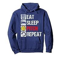 Eat Sleep Pitch Repeat Softball Player Pit Coach Premium T-shirt Hoodie Navy