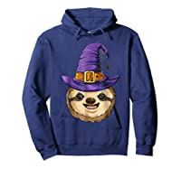 Sloth Witch T Shirt Halloween Girls Funny Costume Hoodie Navy