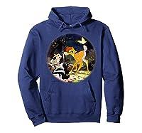 Disney Bambi Forest Scene T Shirt Hoodie Navy