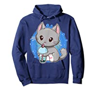 Kawaii Japanese Anime Cat Bubble Tea - Neko Kitty T-shirt Hoodie Navy
