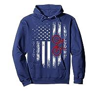 Vintage American Usa Flag Bicycle T-shirt Bicyclist Gift Hoodie Navy