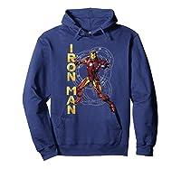 Marvel Avengers Assemble Iron Man Tech Graphic T-shirt Hoodie Navy