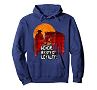 Red Horse Sunset T Shirt Honor Respect Loyalty Cowboy Hoodie Navy