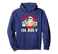 Christmas In July Summertime Beach Santa Claus Shirts Hoodie Navy