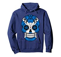 Scottish Flag Sugar Skull Shirts Hoodie Navy