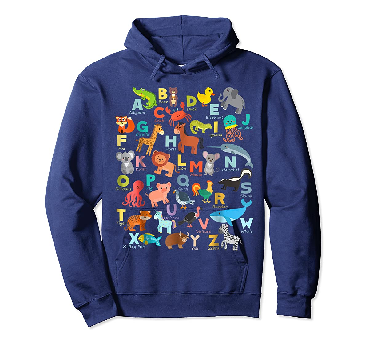 Alphabet Animal ABCs Learning Shirt for boys, girls, adults-Hoodie-Navy