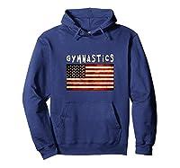 Gymnastics Usa American Flag Apparel Gymnast Grunge Design Shirts Hoodie Navy