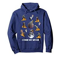 I Need My Space T-shirt Dinosaur T-rex Eat Planet Pizza Hoodie Navy