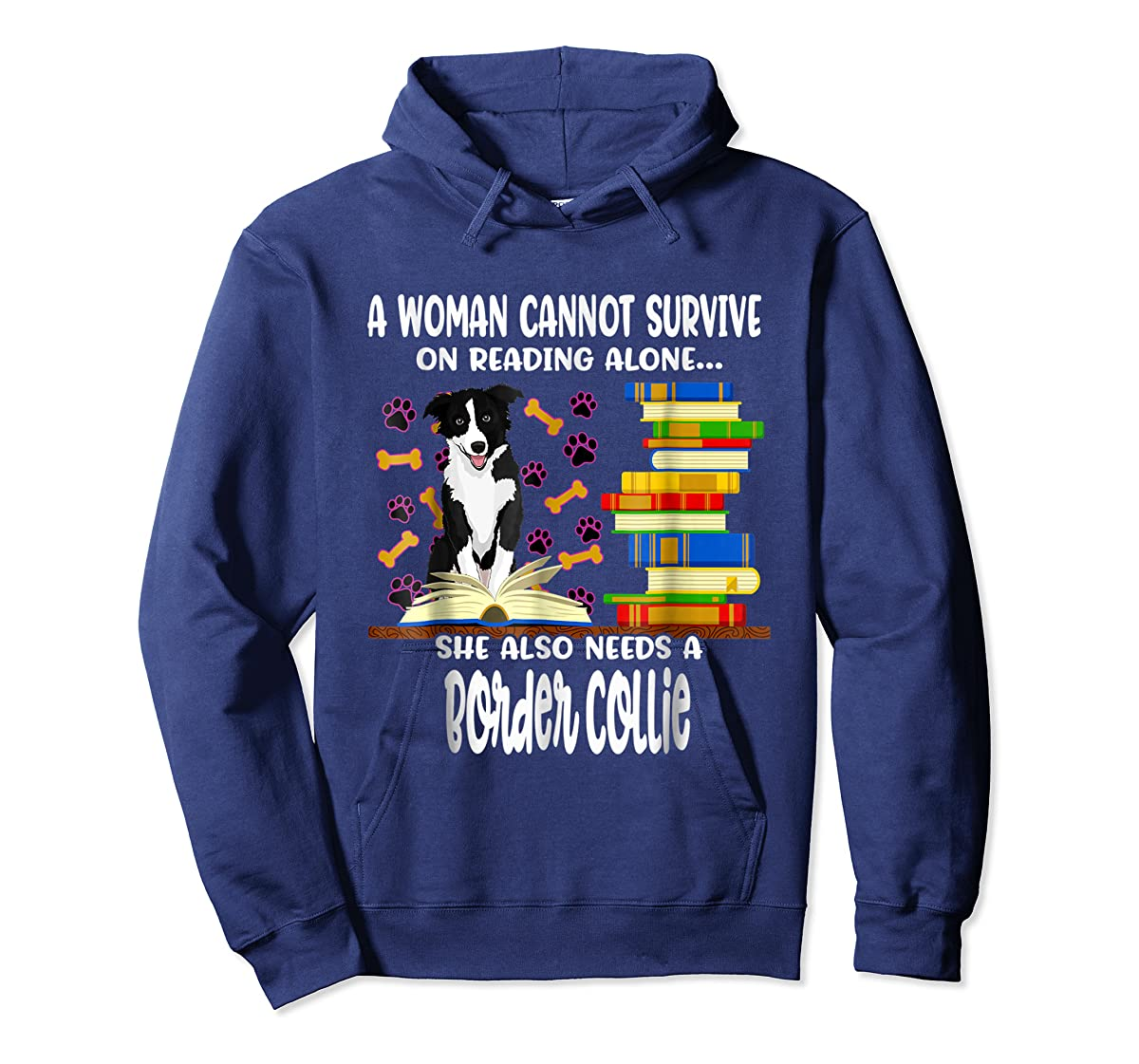 A Woman Reading Book Dog Border Collie Shirt-Hoodie-Navy