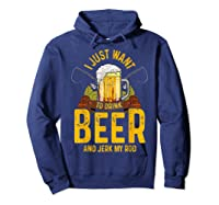 Funny Beer And Fishing Fathers Day Gift Adult Humor Shirts Hoodie Navy