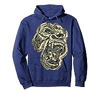 Angry Great Ape Art T-shirt Fierce Silverback Gorilla Face Hoodie Navy