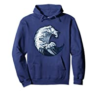 Japanese Art Gift Ocean Wave Line Work Design Shirts Hoodie Navy