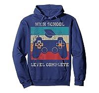 High School Graduation Shirt Level Complete Video Gamer Gift Hoodie Navy