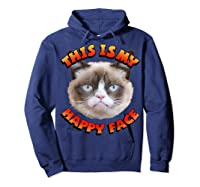Grumpy Cat This Is My Happy Face Graphic Shirts Hoodie Navy