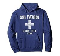 Retro Park City Utah Ski Patrol T Shirt Hoodie Navy